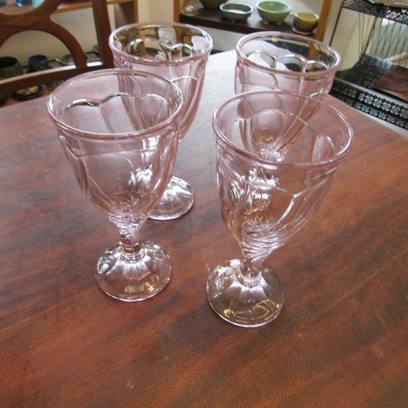 Set of 4 Lavender Noritake Wine Glasses
